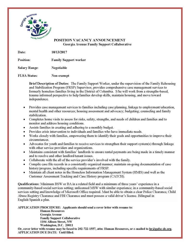 Family Support Worker Job Announcement - 10.17.2017