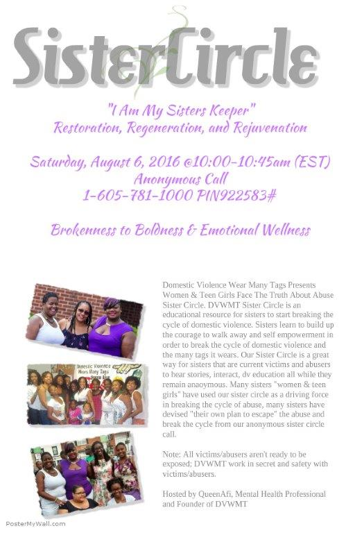 """Sister Circle """"I am my sisters keeper"""" Domestic Violence Support Call-in Event @ Phone in only event"""