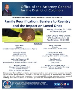 Family Reunification: Barriers to Reentry and the Impact on Loved Ones @ Allen Chapel AME Church   Washington   District of Columbia   United States
