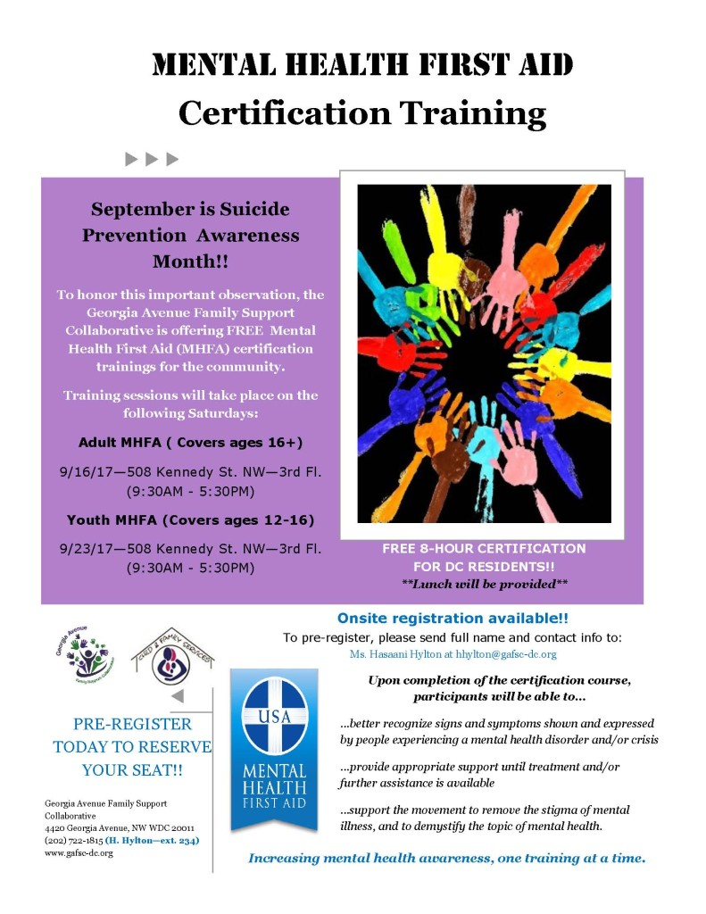 MHFA Community Training Flyer September 2017